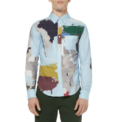 MAP-PRINT COTTON SHIRT BAND OF OUTSIDERS